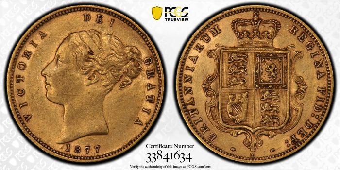 Australia 1877 Melbourne Half Sovereign Ex-RBA PCGS AU53