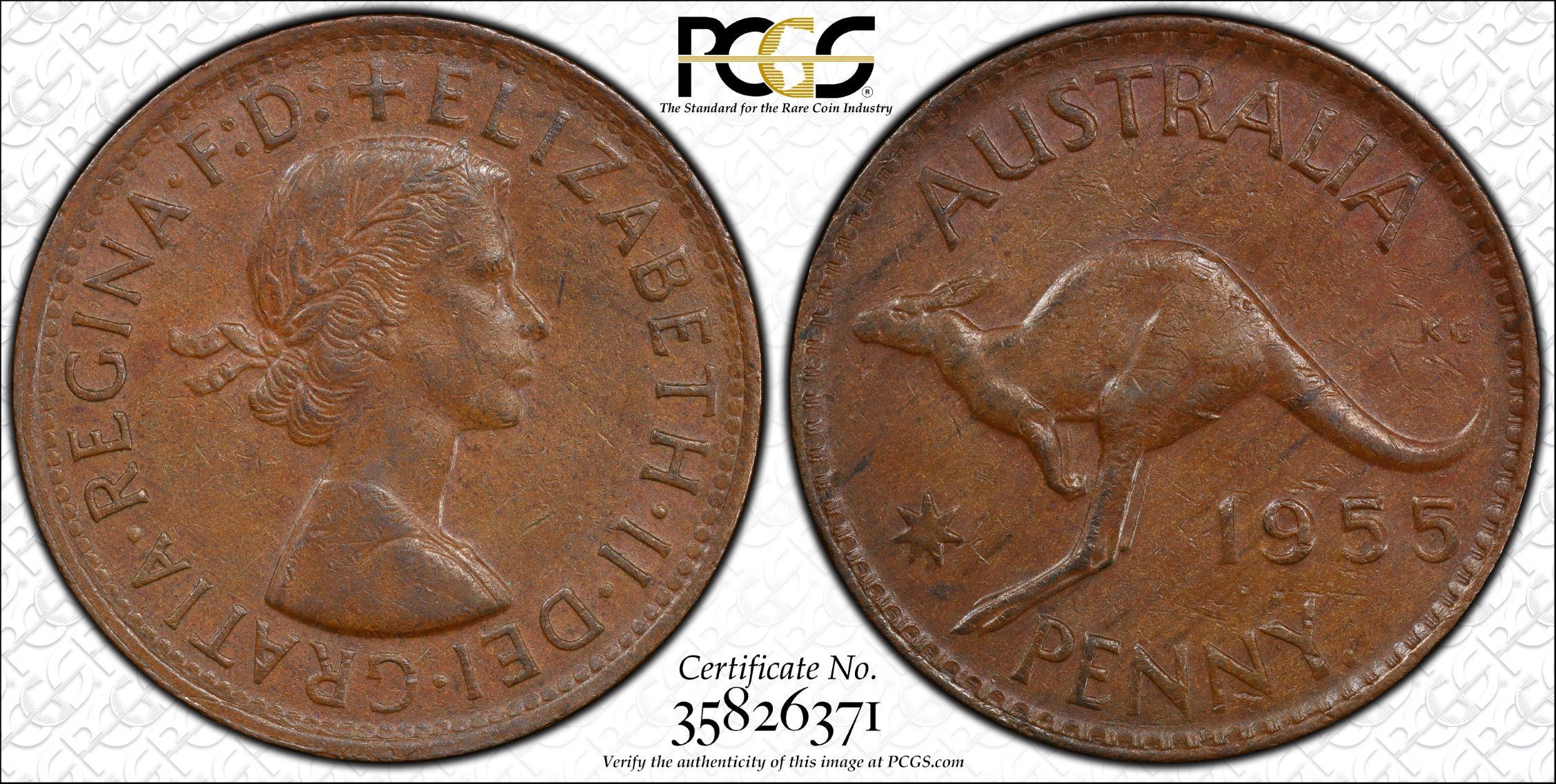 Australia 1955 Perth Obverse Penny PCGS AU53