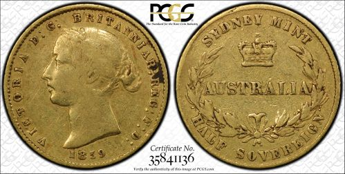 1859 Sydney Half Sovereign PCGS VF30