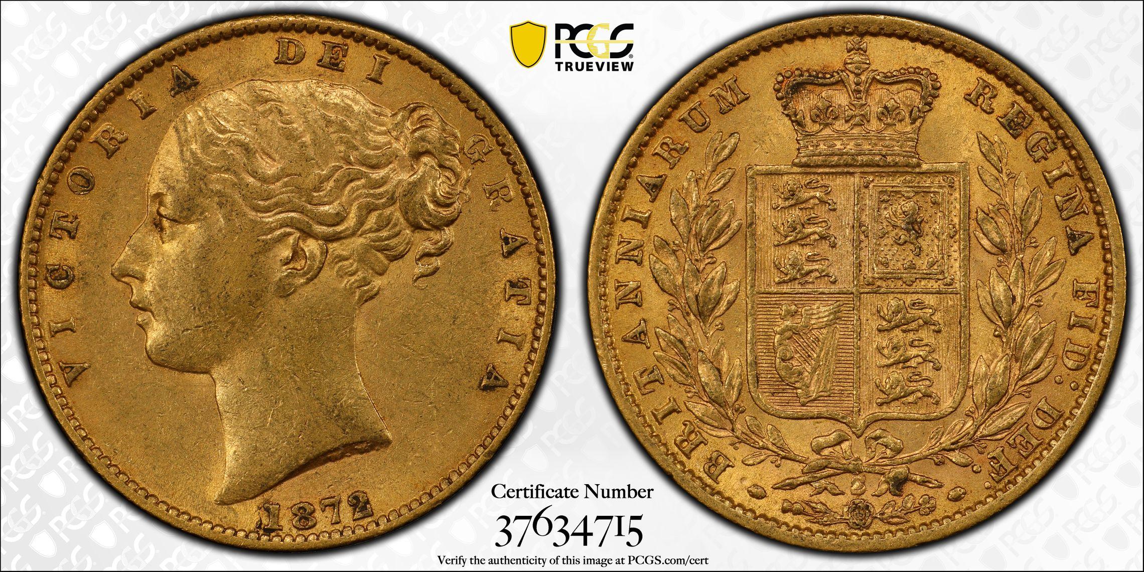 Australia 1872 Sydney Sovereign PCGS AU55