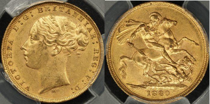 Australia 1880 Melbourne Sovereign PCGS AU58
