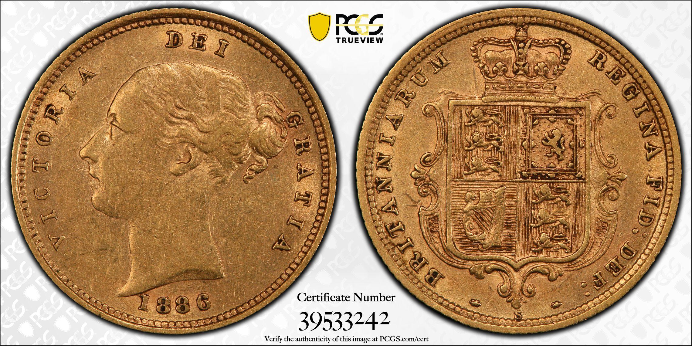 Australia 1886 Sydney Half Sovereign PCGS AU55
