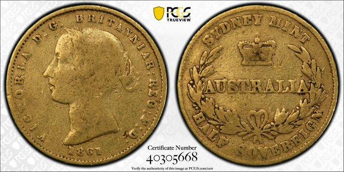Australia 1861 Sydney Half Sovereign - PCGS F12