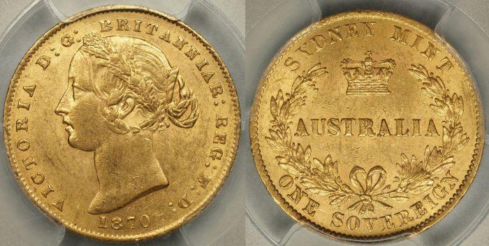 Australia 1870 Sydney Mint Sovereign PCGS MS62