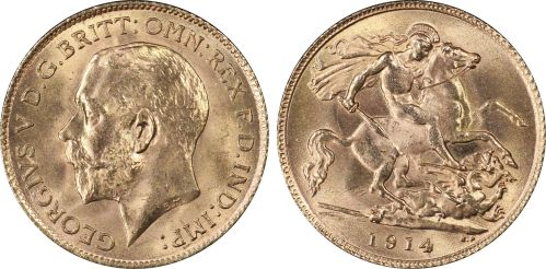 Great Britain 1914 Half Sovereign - PCGS MS65