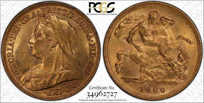 Australia 1900 Melbourne Half Sovereign - PCGS AU58