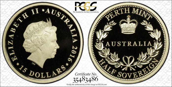 Australia 2016 Perth Mint $15 Half Sovereign - PCGS PR70DCAM
