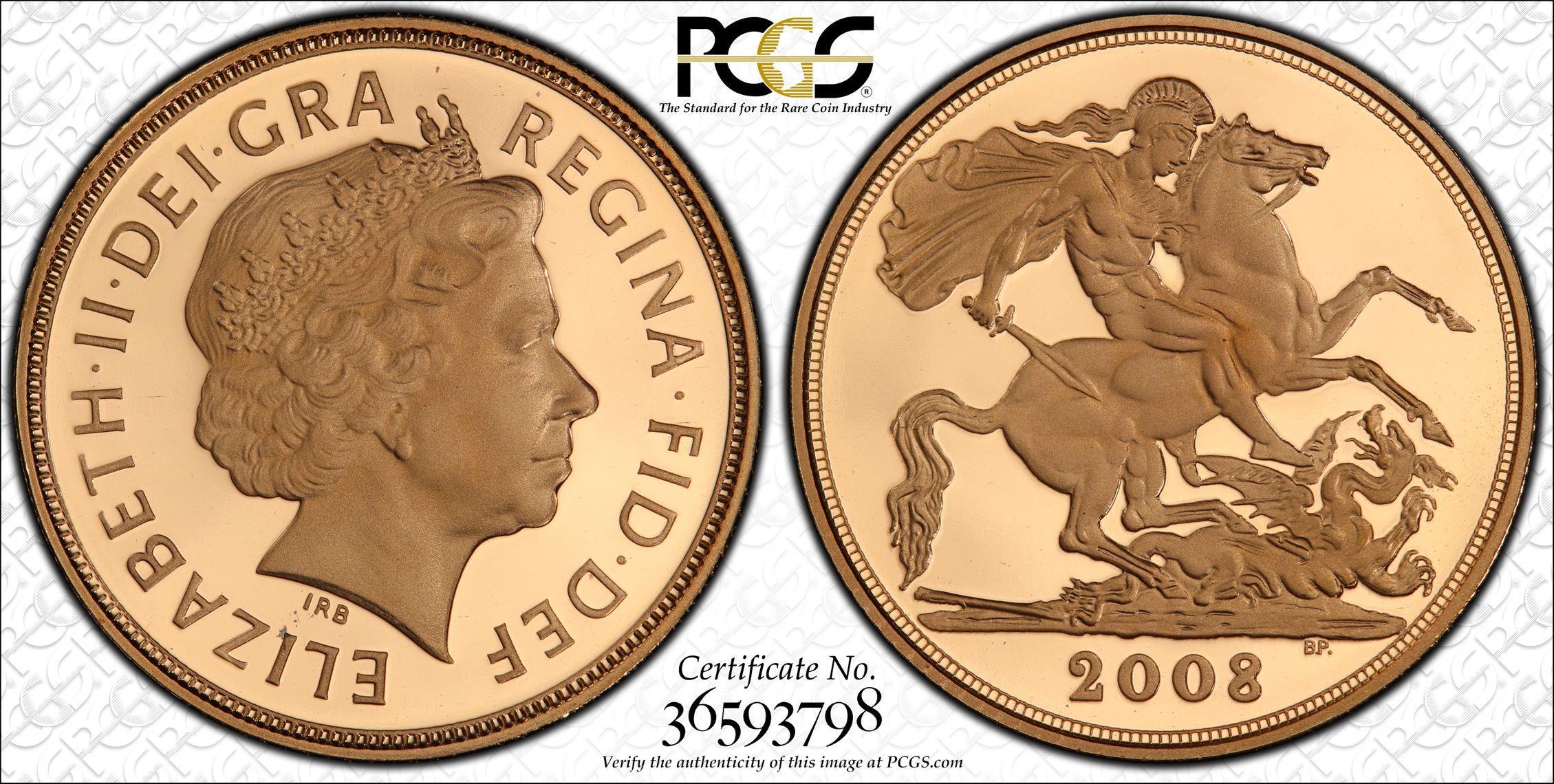 Great Britain 2008 Sovereign - PCGS PR69