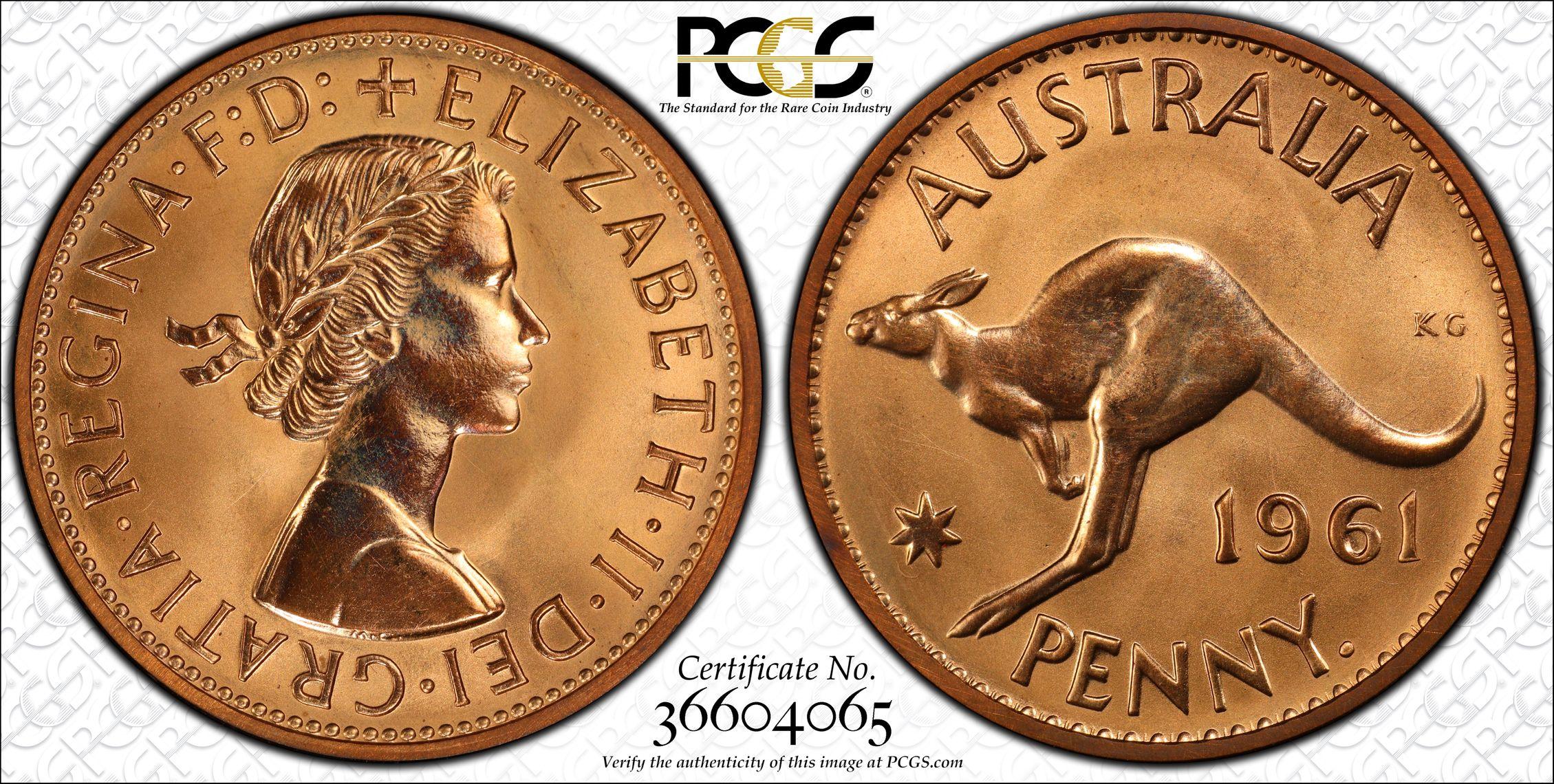 Australia 1961 Penny - PCGS PR66RD