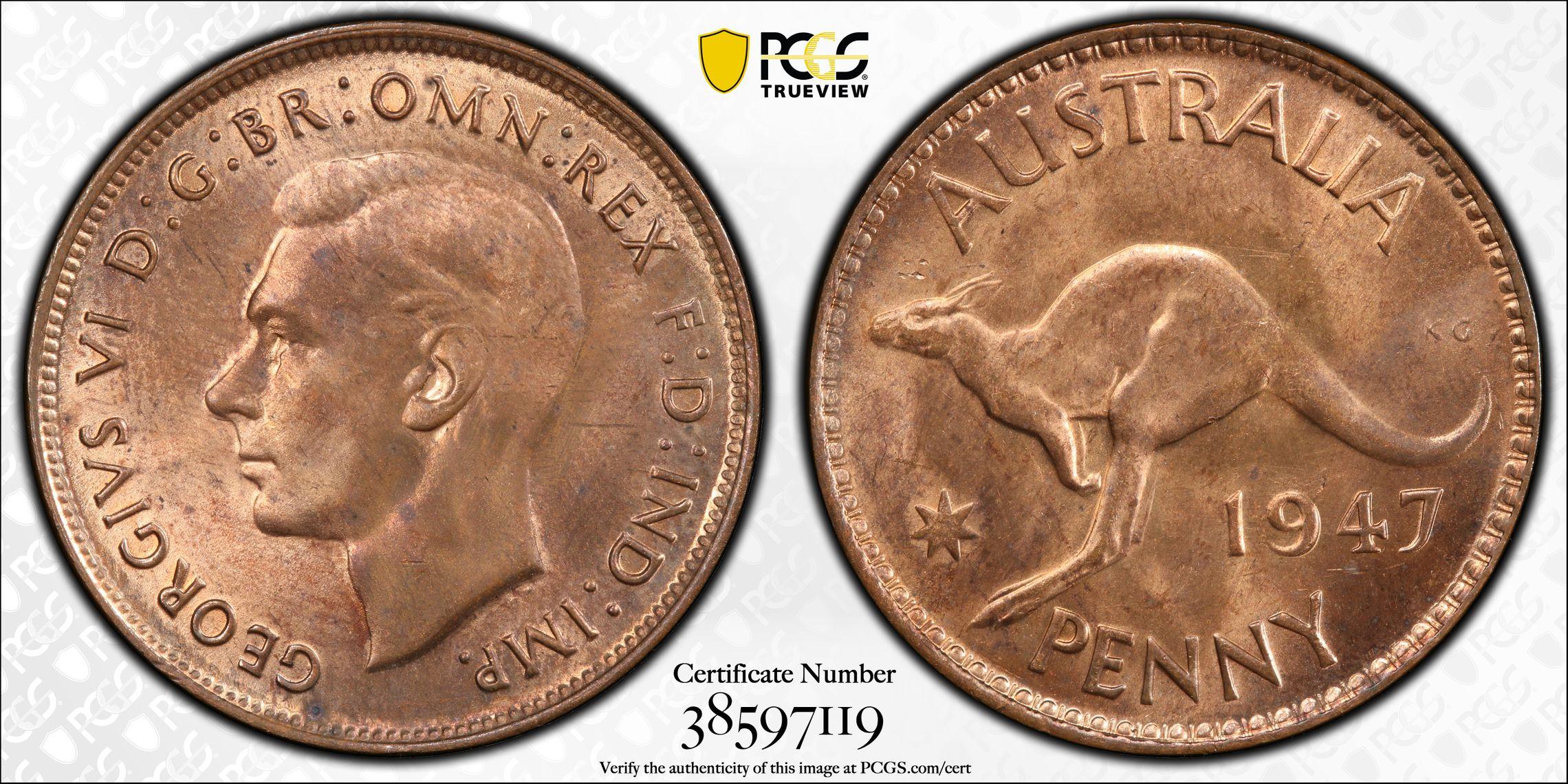 Australia 1947 Penny - PCGS MS64RB