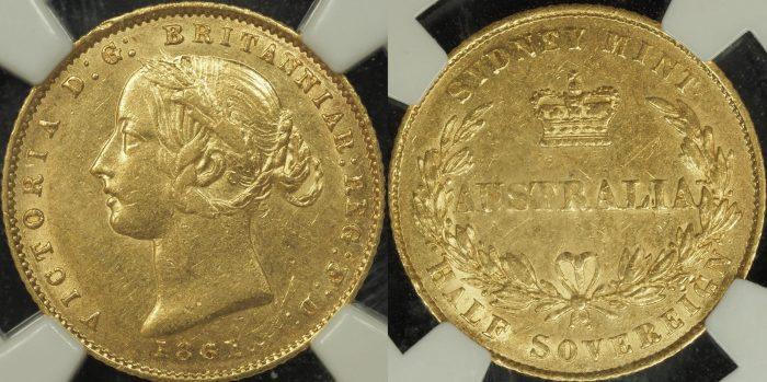 Australia 1861 Sydney Half Sovereign - NGC AU53