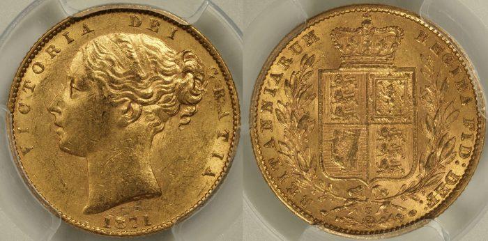 Australia 1871 Sydney Sovereign - PCGS AU58