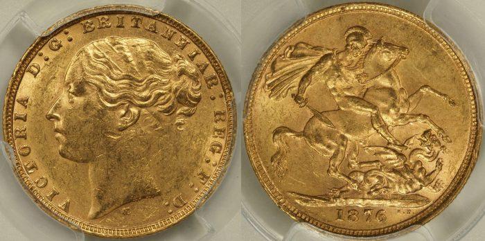 Australia 1876 Melbourne Sovereign - PCGS MS61