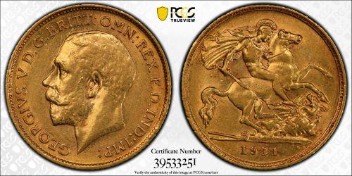 Australia 1911 Sydney Half Sovereign - PCGS AU55