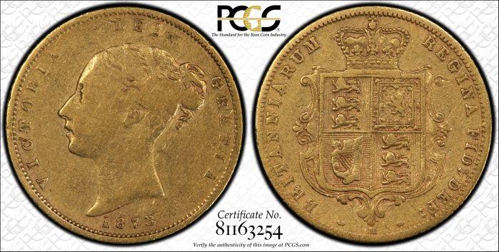 Australia 1873 Melbourne Half Sovereign - PCGS F12