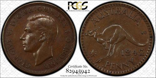Australia 1942 Bombay Penny No Mintmark PCGS AU55