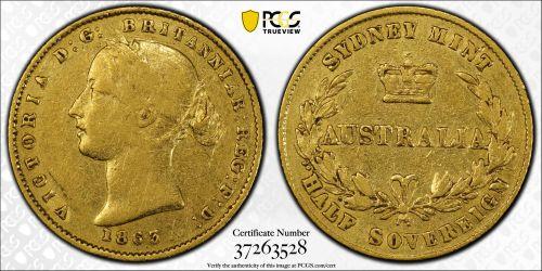Australia 1863 Sydney Half Sovereign - PCGS XF40