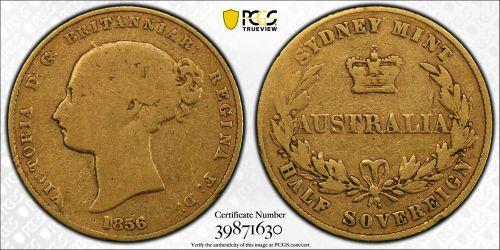 Australia 1856 Sydney Half Sovereign - PCGS F12