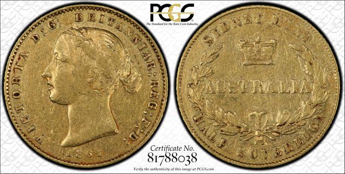 Australia 1861 Sydney Half Sovereign - PCGS XF45