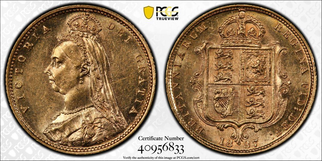 Australia 1887 Melbourne Half Sovereign - PCGS AU58