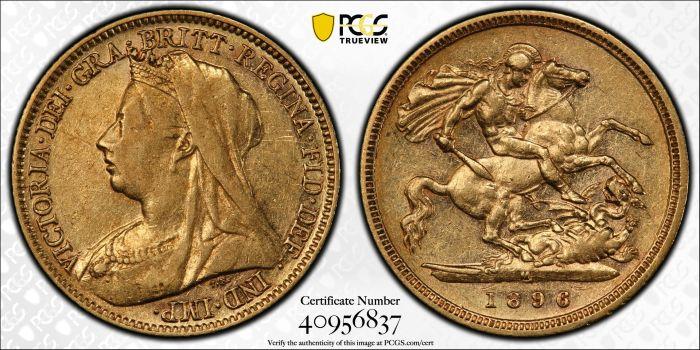 Australia 1896 Melbourne Half Sovereign - PCGS XF45