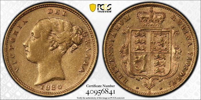 Australia 1886 Melbourne Half Sovereign - PCGS XF Detail