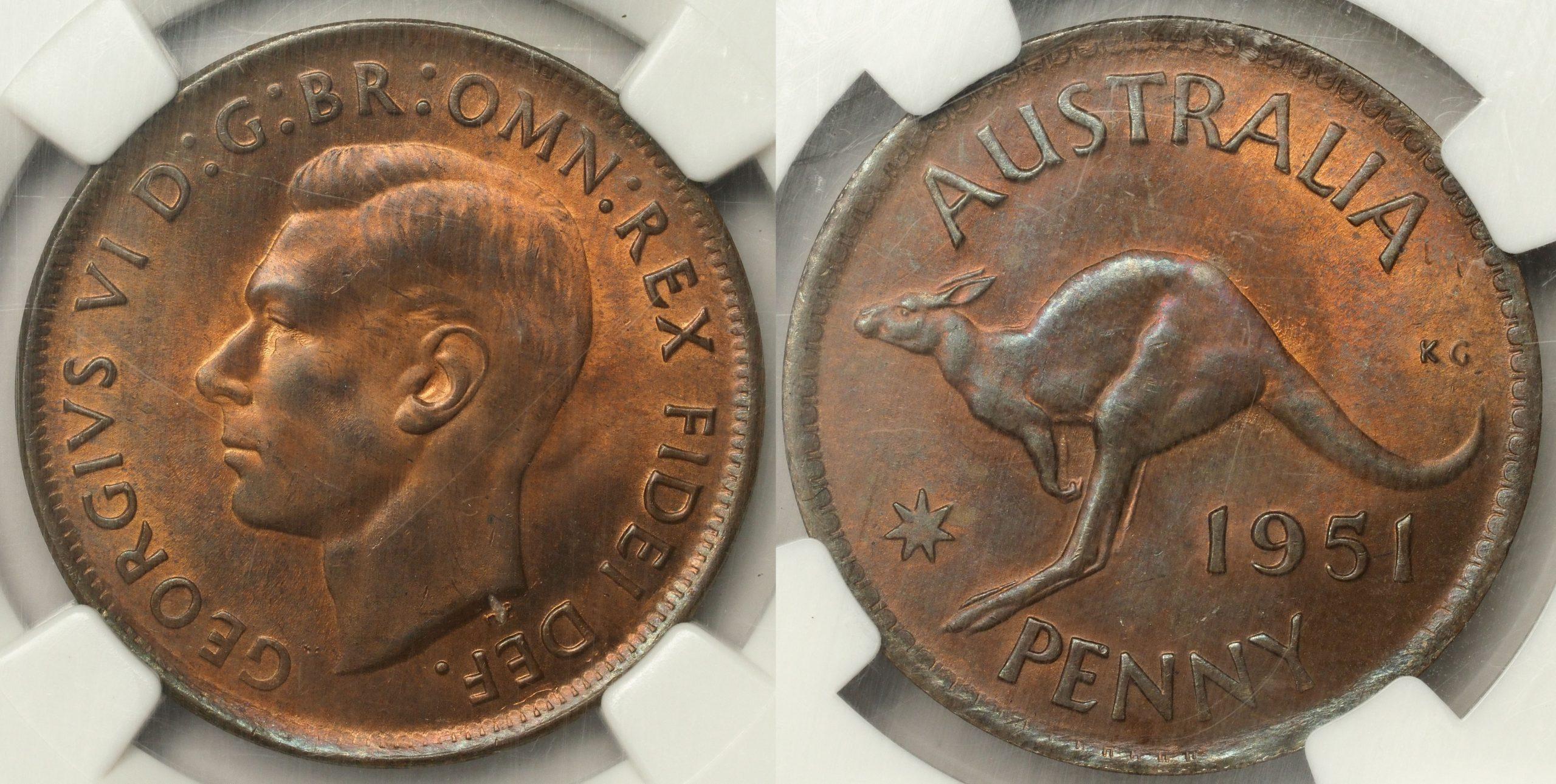 Australia 1951 Penny - NGC MS64RB