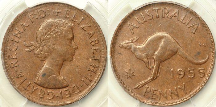 Australia 1955 Penny - PCGS AU58