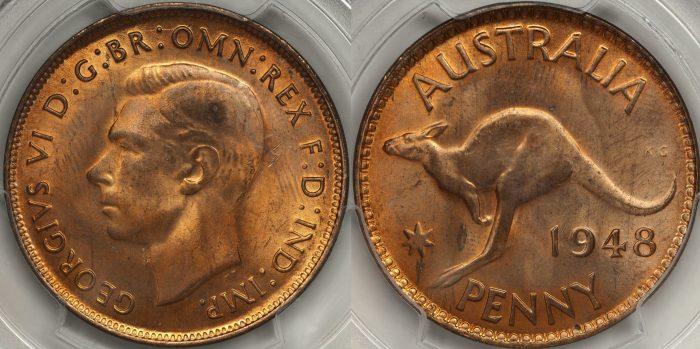 Australia 1948 Melbourne Penny PCGS MS64RD