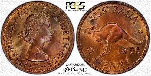 Australia 1958 Melbourne Penny PCGS MS63RB