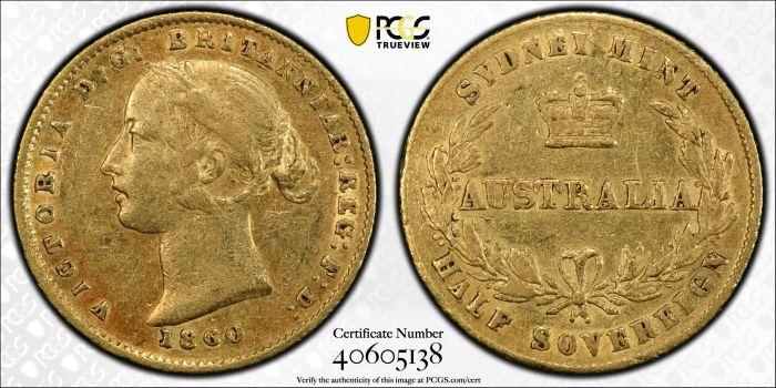 Australia 1860 Sydney Half Sovereign PCGS XF45