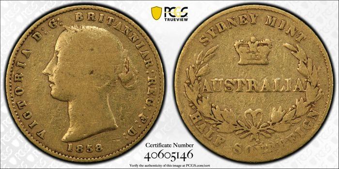 Australia 1858 Sydney Half Sovereign PCGS F12