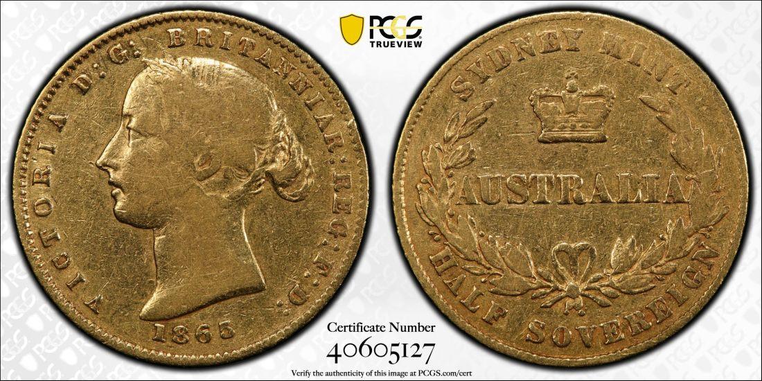 Australia 1865 Sydney Half Sovereign - PCGS VF25