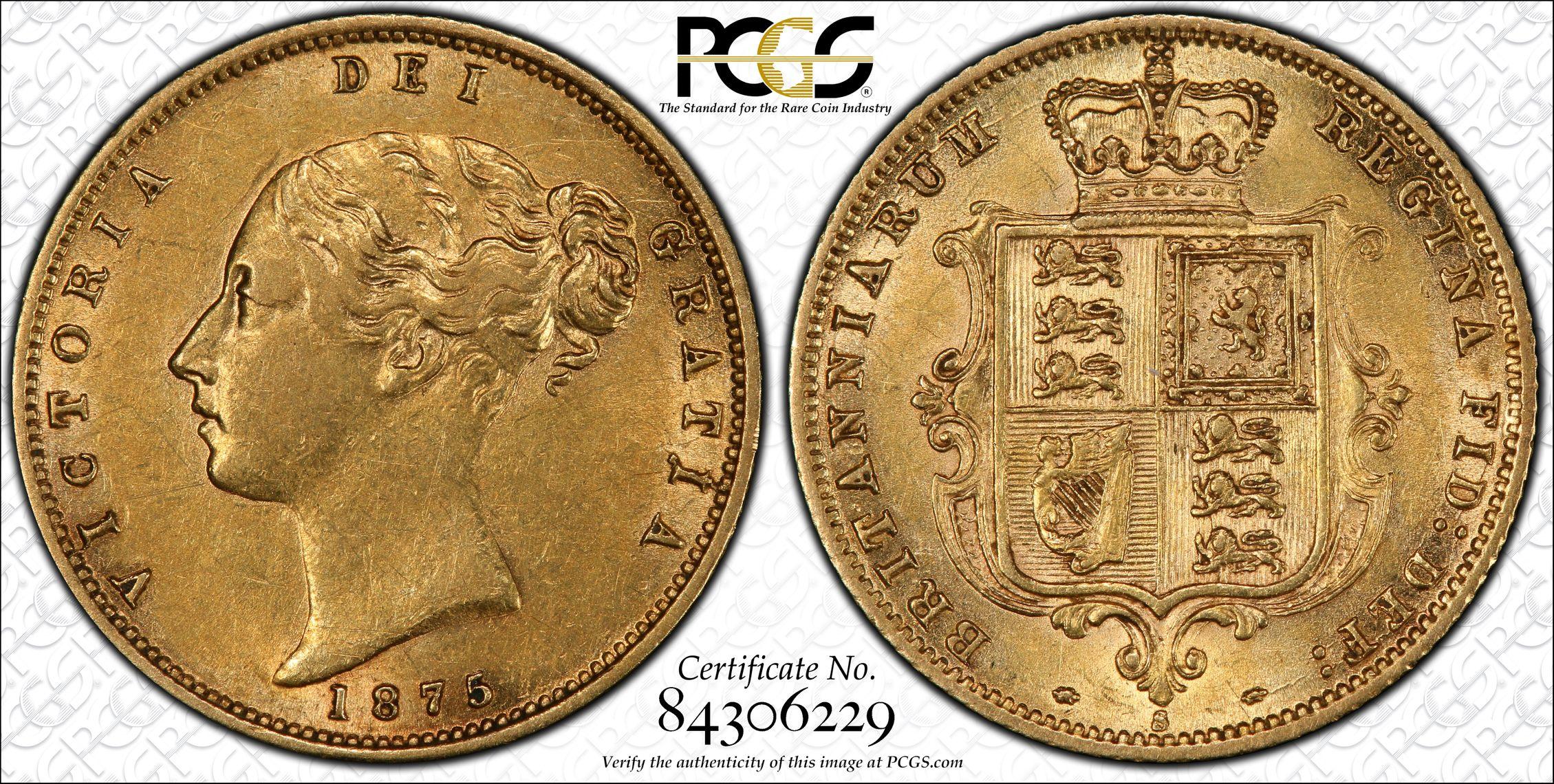 Australia 1875 Sydney Half Sovereign - PCGS AU55