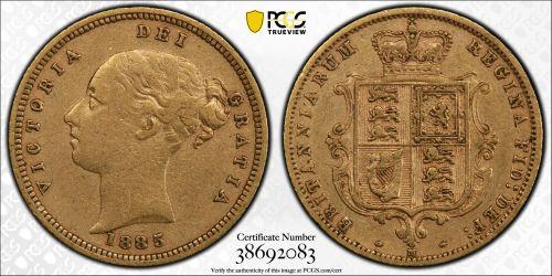 Australia 1885 Melbourne Half Sovereign PCGS XF40