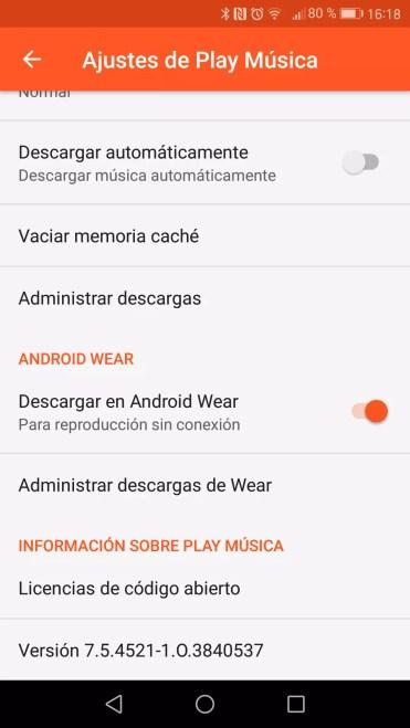 Activar apso de canciones desde teléfono a Android Wear