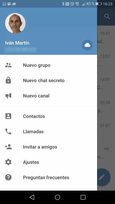 Interfaz de Telegram con nube