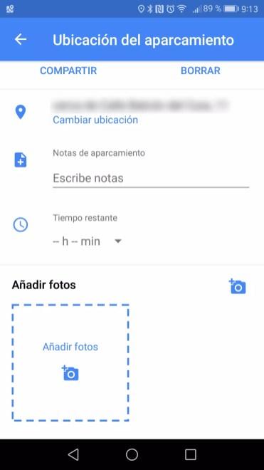 Detalles adicionales aparcamiento Google Maps