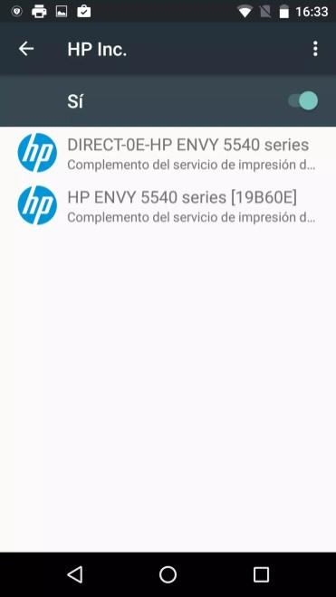 Listados de dispositivos apra imprimir desde un Android