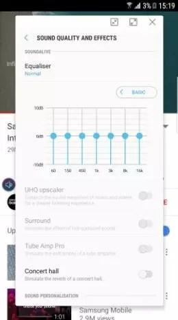Ecualizador de SoundAssistant para el Samsung Galaxy S8