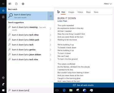 Interfaz de las nuevas búsquedas en la web con Cortana