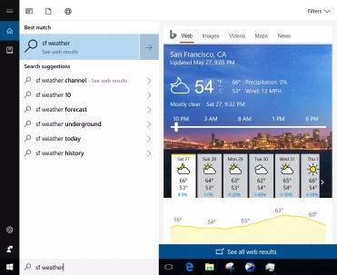 búsquedas en la web con Cortana tiempo
