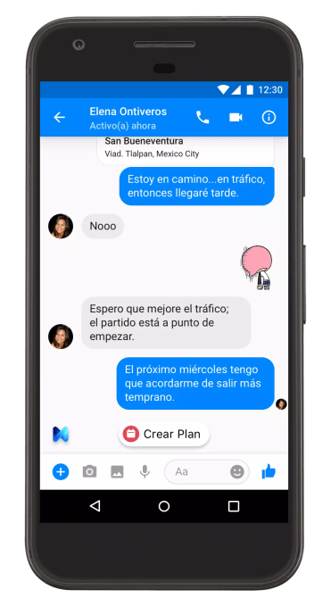 Smartphone con asistente para Messenger de Facebook