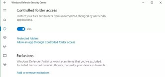 Opciones carpetas protegidas en Windows 10