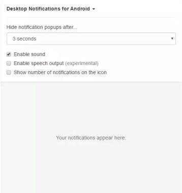 notificaciones de Android en tu ordenador opciones