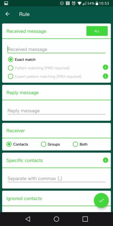 Opciones AutoResponder for WhatsApp