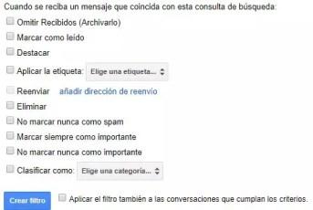 Opciones de creación de filtro en Gmail