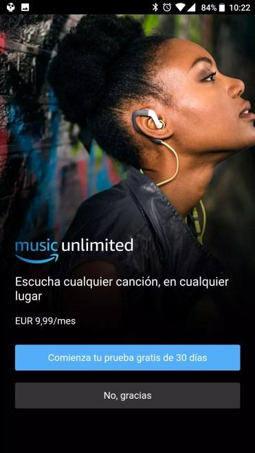 Inicio aplicación Amazon Music Unlimited