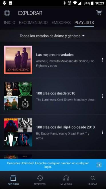 Listas incluidas Amazon Music Unlimited