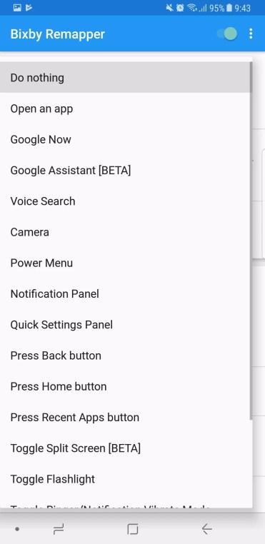 Lista de opciones para cambiar el uso del botón Bixby